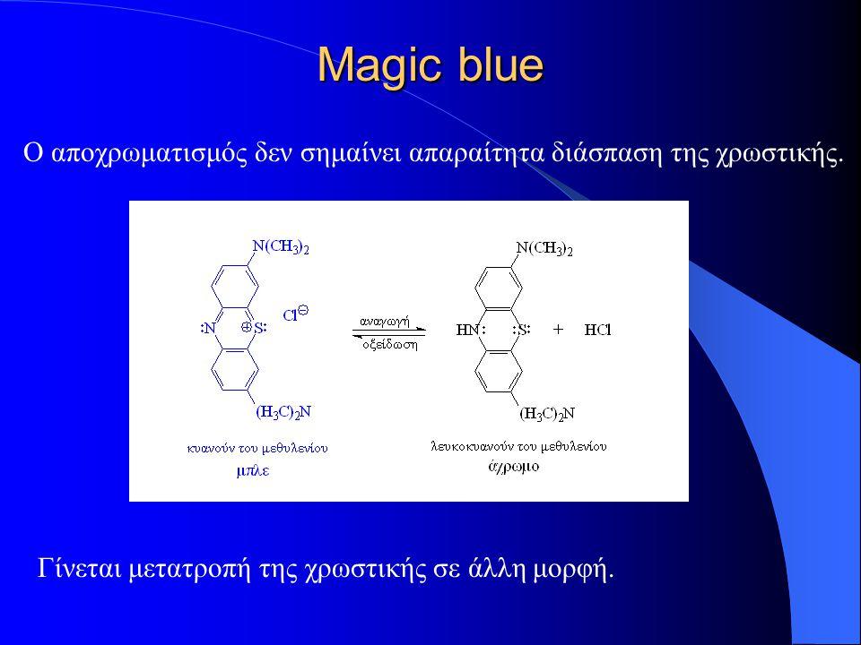 Magic blue Ο αποχρωματισμός δεν σημαίνει απαραίτητα διάσπαση της χρωστικής. Γίνεται μετατροπή της χρωστικής σε άλλη μορφή.