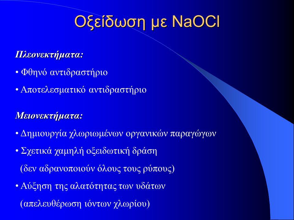 Οξείδωση με NaOCl Πλεονεκτήματα: Φθηνό αντιδραστήριο Αποτελεσματικό αντιδραστήριο Μειονεκτήματα: Δημιουργία χλωριωμένων οργανικών παραγώγων Σχετικά χα