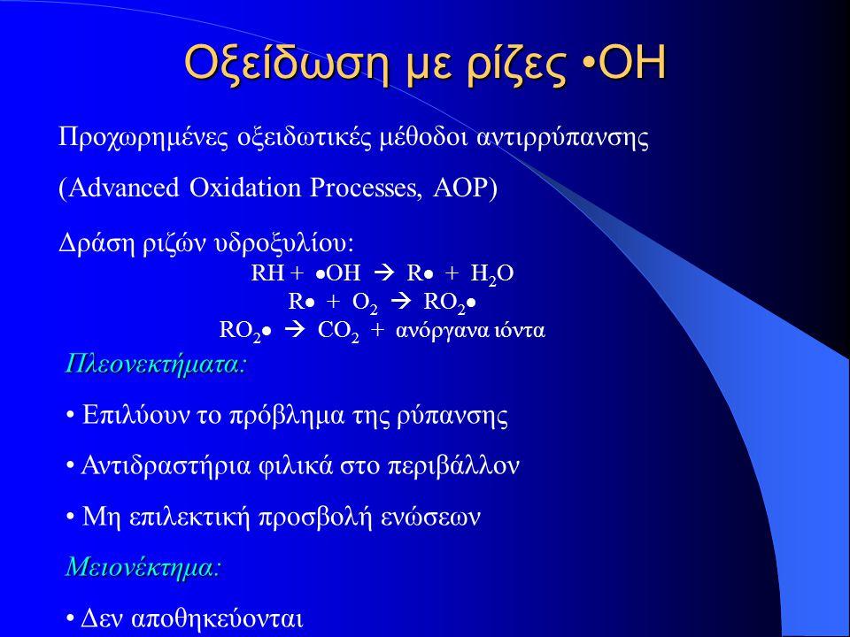 Οξείδωση με ρίζες ΟΗ Προχωρημένες οξειδωτικές μέθοδοι αντιρρύπανσης (Advanced Oxidation Processes, AOP) Δράση ριζών υδροξυλίου: RH +  OH  R  + H 2