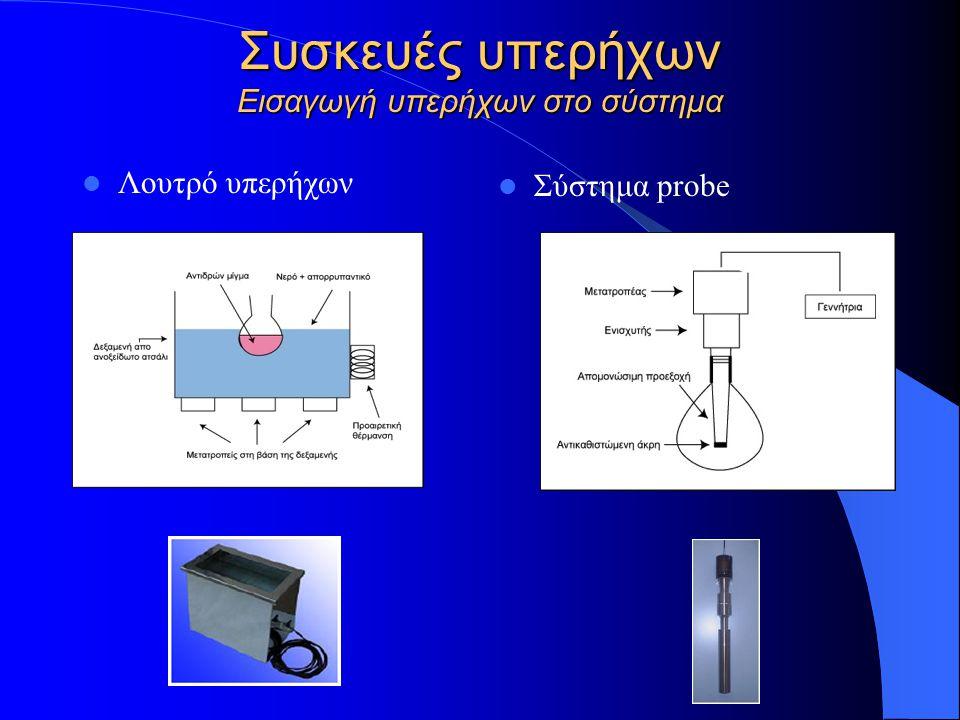 Συσκευές υπερήχων Εισαγωγή υπερήχων στο σύστημα Λουτρό υπερήχων Σύστημα probe