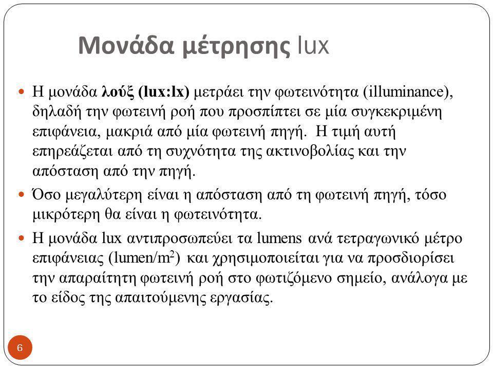 Μονάδα μέτρησης lux Η μονάδα λούξ (lux:lx) μετράει την φωτεινότητα (illuminance), δηλαδή την φωτεινή ροή που προσπίπτει σε μία συγκεκριμένη επιφάνεια, μακριά από μία φωτεινή πηγή.