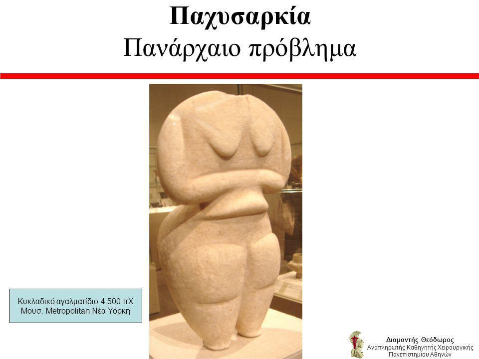 Παχυσαρκία Πανάρχαιο πρόβλημα Διαμαντής Θεόδωρος Αναπληρωτής Καθηγητής Χειρουργικής Πανεπιστημίου Αθηνών Κυκλαδικό αγαλματίδιο 4.500 πΧ Μουσ.