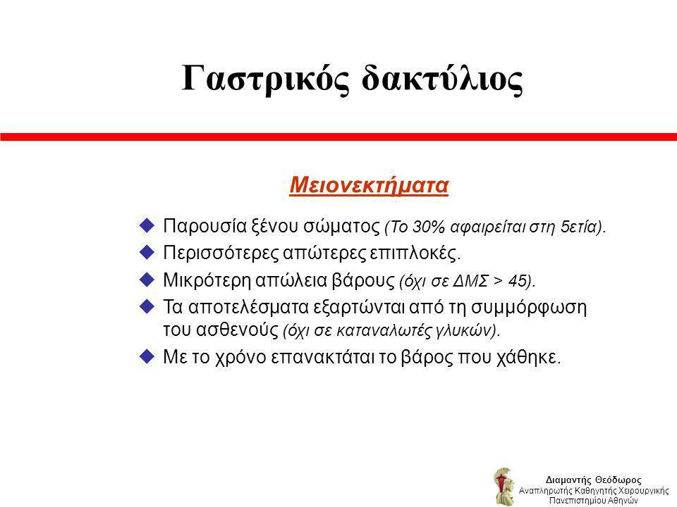 Γαστρικός δακτύλιος Μειονεκτήματα uΠαρουσία ξένου σώματος (Το 30% αφαιρείται στη 5ετία).