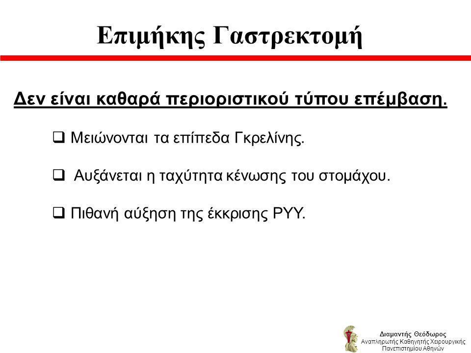 Επιμήκης Γαστρεκτομή Διαμαντής Θεόδωρος Αναπληρωτής Καθηγητής Χειρουργικής Πανεπιστημίου Αθηνών Δεν είναι καθαρά περιοριστικού τύπου επέμβαση.