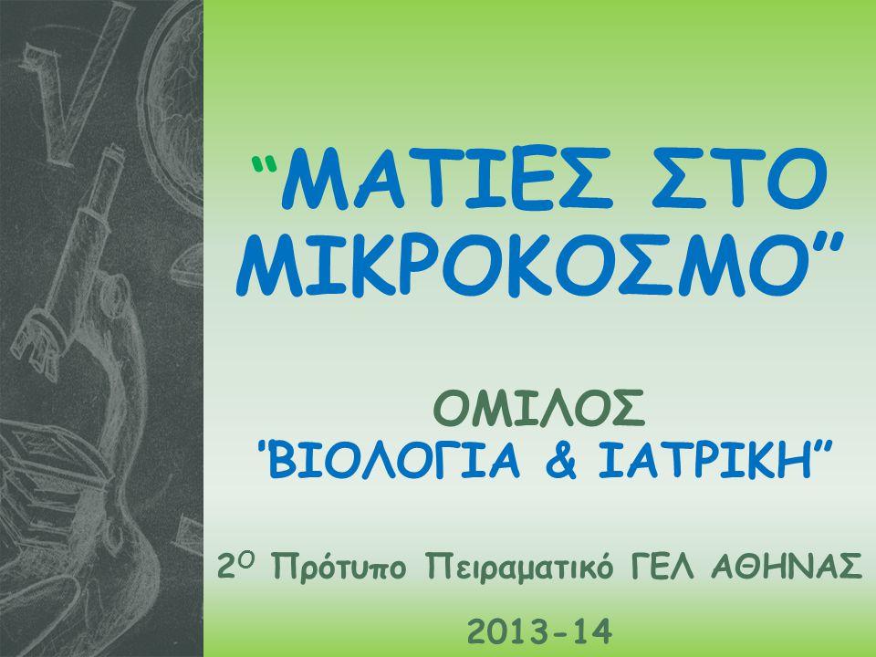 ΜΑΤΙΕΣ ΣΤΟ ΜΙΚΡΟΚΟΣΜΟ ΟΜΙΛΟΣ ΒΙΟΛΟΓΙΑ & ΙΑΤΡΙΚΗ 2 Ο Πρότυπο Πειραματικό ΓΕΛ ΑΘΗΝΑΣ 2013-14
