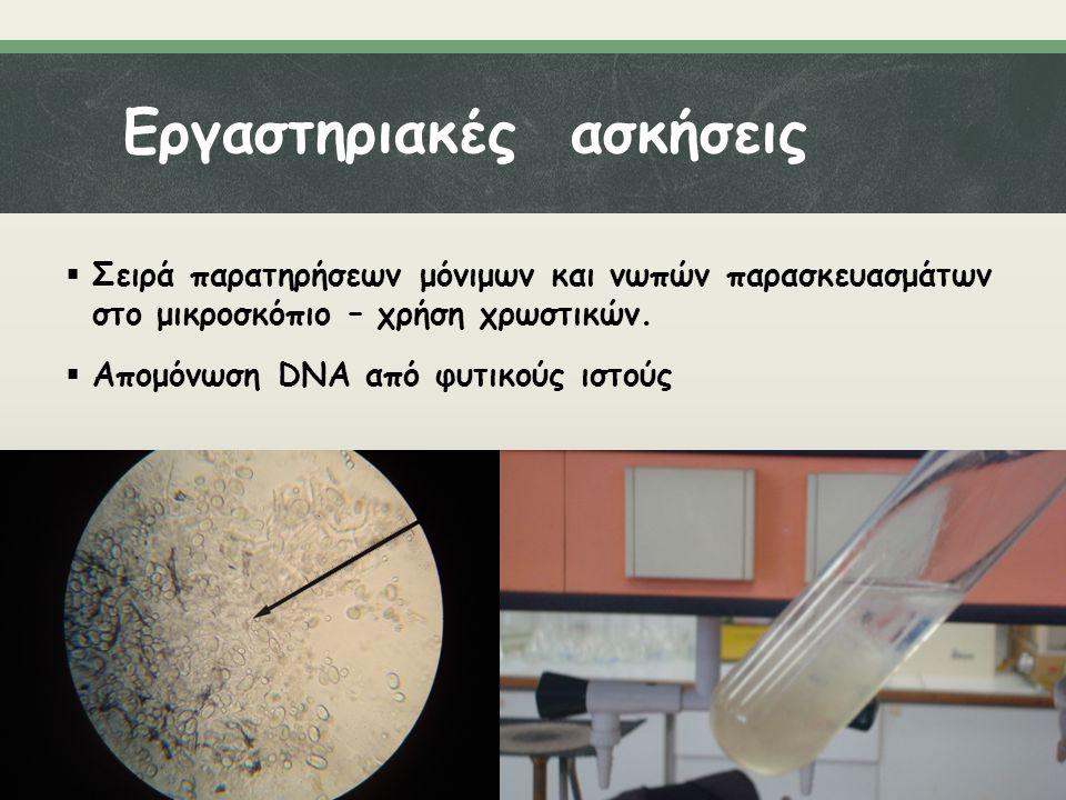 Εργαστηριακές ασκήσεις  Σειρά παρατηρήσεων μόνιμων και νωπών παρασκευασμάτων στο μικροσκόπιο – χρήση χρωστικών.  Απομόνωση DNA από φυτικούς ιστούς