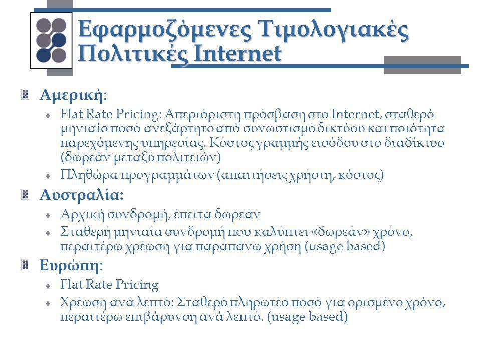 Εφαρμοζόμενες Τιμολογιακές Πολιτικές Internet Αμερική :  Flat Rate Pricing: Απεριόριστη πρόσβαση στο Internet, σταθερό μηνιαίο ποσό ανεξάρτητο από συ