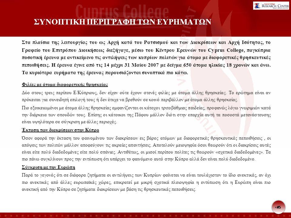 5 5 ΣΥΝΟΠΤΙΚΗ ΠΕΡΙΓΡΑΦΗ ΤΩΝ ΕΥΡΗΜΑΤΩΝ Στα πλαίσια της λειτουργίας του ως Αρχή κατά του Ρατσισμού και των Διακρίσεων και Αρχή Ισότητας, το Γραφείο του Επιτρόπου Διοικήσεως διεξήγαγε, μέσω του Κέντρου Ερευνών του Cyprus College, παγκύπρια ποσοτική έρευνα με αντικείμενο τις αντιλήψεις των κυπρίων πολιτών για άτομα με διαφορετικές θρησκευτικές πεποιθήσεις.