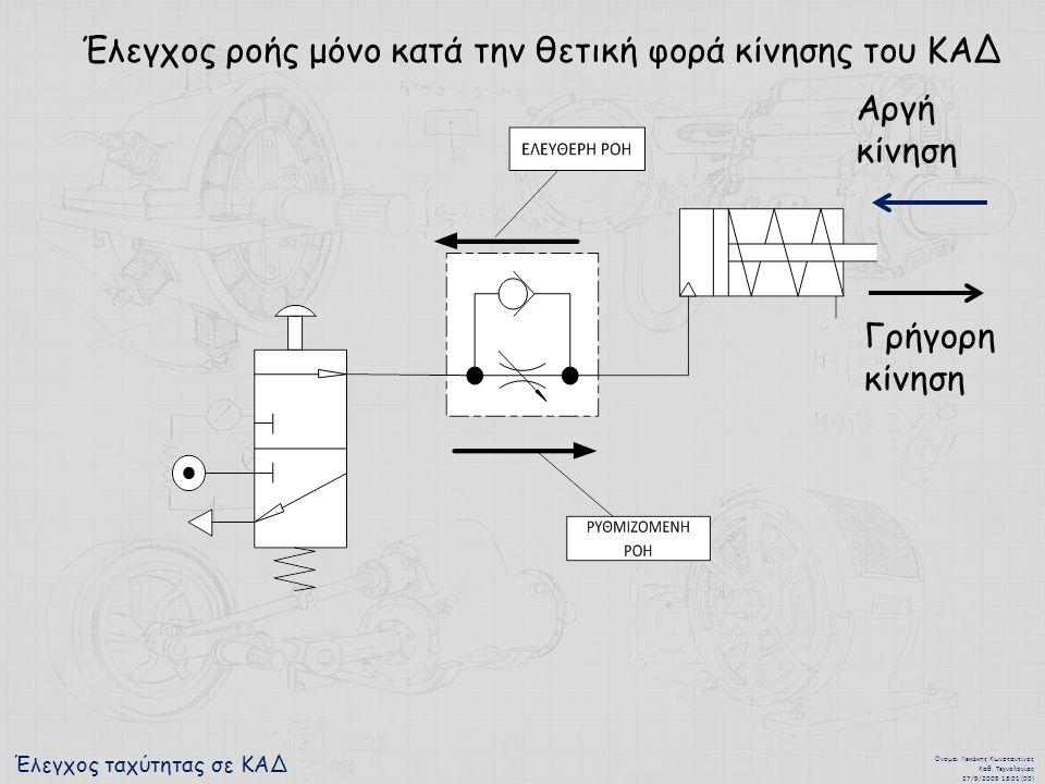 Έλεγχος ταχύτητας σε ΚΑΔ Όνομα : Λεκάκης Κωνσταντίνος Καθ. Τεχνολογίας 27/9/2009 13:01 (00) Έλεγχος ροής μόνο κατά την θετική φορά κίνησης του ΚΑΔ Γρή