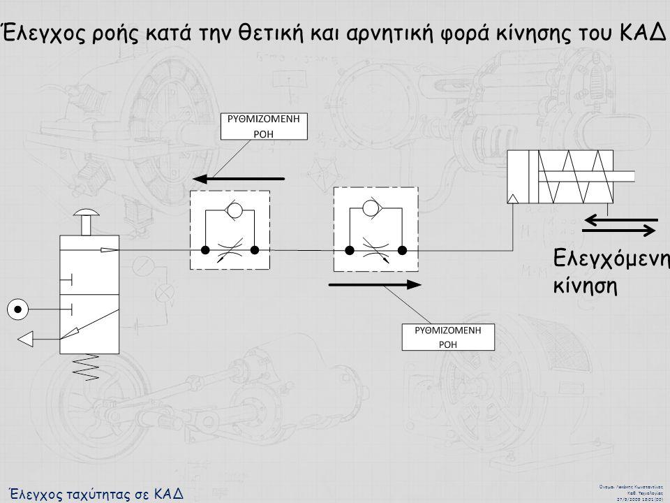Έλεγχος ταχύτητας σε ΚΑΔ Όνομα : Λεκάκης Κωνσταντίνος Καθ. Τεχνολογίας 27/9/2009 13:01 (00) Έλεγχος ροής κατά την θετική και αρνητική φορά κίνησης του