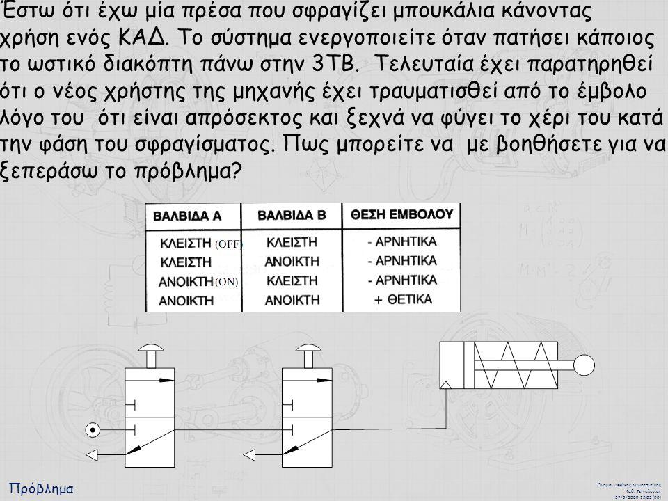 Πρόβλημα Όνομα : Λεκάκης Κωνσταντίνος Καθ. Τεχνολογίας 27/9/2009 13:02 (00) Έστω ότι έχω μία πρέσα που σφραγίζει μπουκάλια κάνοντας χρήση ενός ΚΑΔ. Το