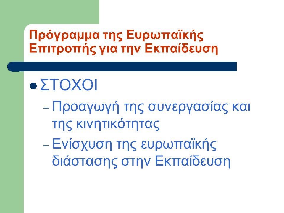 Πρόγραμμα της Ευρωπαϊκής Επιτροπής για την Εκπαίδευση ΣΤΟΧΟΙ – Προαγωγή της συνεργασίας και της κινητικότητας – Ενίσχυση της ευρωπαϊκής διάστασης στην
