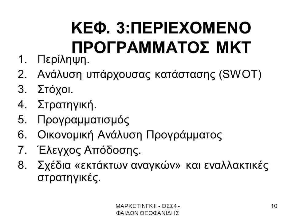 ΜΑΡΚΕΤΙΝΓΚ ΙΙ - ΟΣΣ4 - ΦΑΙΔΩΝ ΘΕΟΦΑΝΙΔΗΣ 10 ΚΕΦ. 3:ΠΕΡΙΕΧΟΜΕΝΟ ΠΡΟΓΡΑΜΜΑΤΟΣ ΜΚΤ 1.Περίληψη. 2.Ανάλυση υπάρχουσας κατάστασης (SWOT) 3.Στόχοι. 4.Στρατηγ