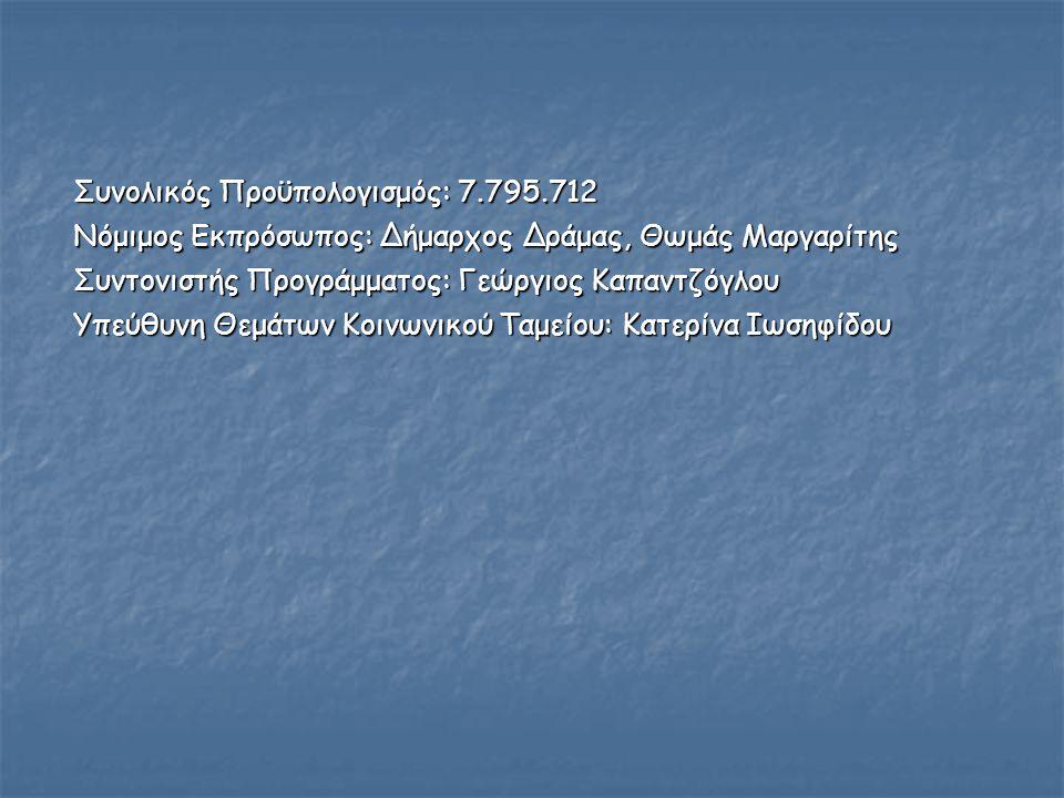 Συνολικός Προϋπολογισμός: 7.795.712 Νόμιμος Εκπρόσωπος: Δήμαρχος Δράμας, Θωμάς Μαργαρίτης Συντονιστής Προγράμματος: Γεώργιος Καπαντζόγλου Υπεύθυνη Θεμάτων Κοινωνικού Ταμείου: Κατερίνα Ιωσηφίδου