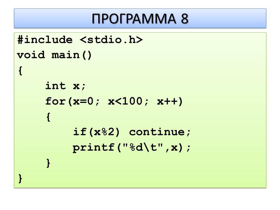 ΠΡΟΓΡΑΜΜΑ 8 #include void main() { int x; for(x=0; x<100; x++) { if(x%2) continue; printf( %d\t ,x); } #include void main() { int x; for(x=0; x<100; x++) { if(x%2) continue; printf( %d\t ,x); }