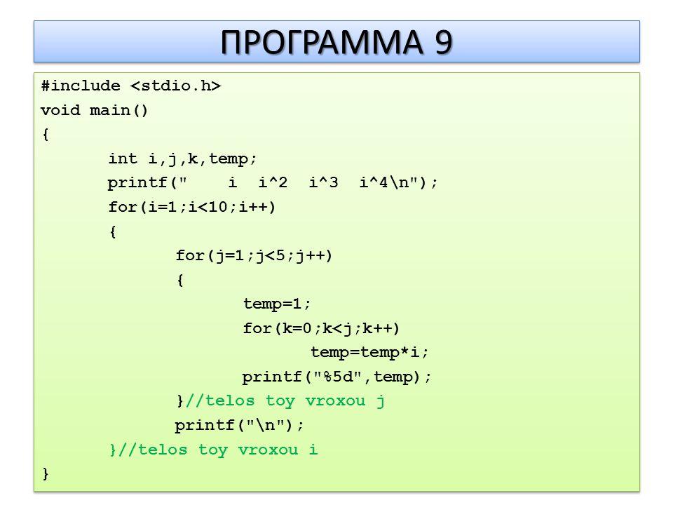 ΠΡΟΓΡΑΜΜΑ 9 #include void main() { int i,j,k,temp; printf( i i^2 i^3 i^4\n ); for(i=1;i<10;i++) { for(j=1;j<5;j++) { temp=1; for(k=0;k<j;k++) temp=temp*i; printf( %5d ,temp); }//telos toy vroxou j printf( \n ); }//telos toy vroxou i } #include void main() { int i,j,k,temp; printf( i i^2 i^3 i^4\n ); for(i=1;i<10;i++) { for(j=1;j<5;j++) { temp=1; for(k=0;k<j;k++) temp=temp*i; printf( %5d ,temp); }//telos toy vroxou j printf( \n ); }//telos toy vroxou i }