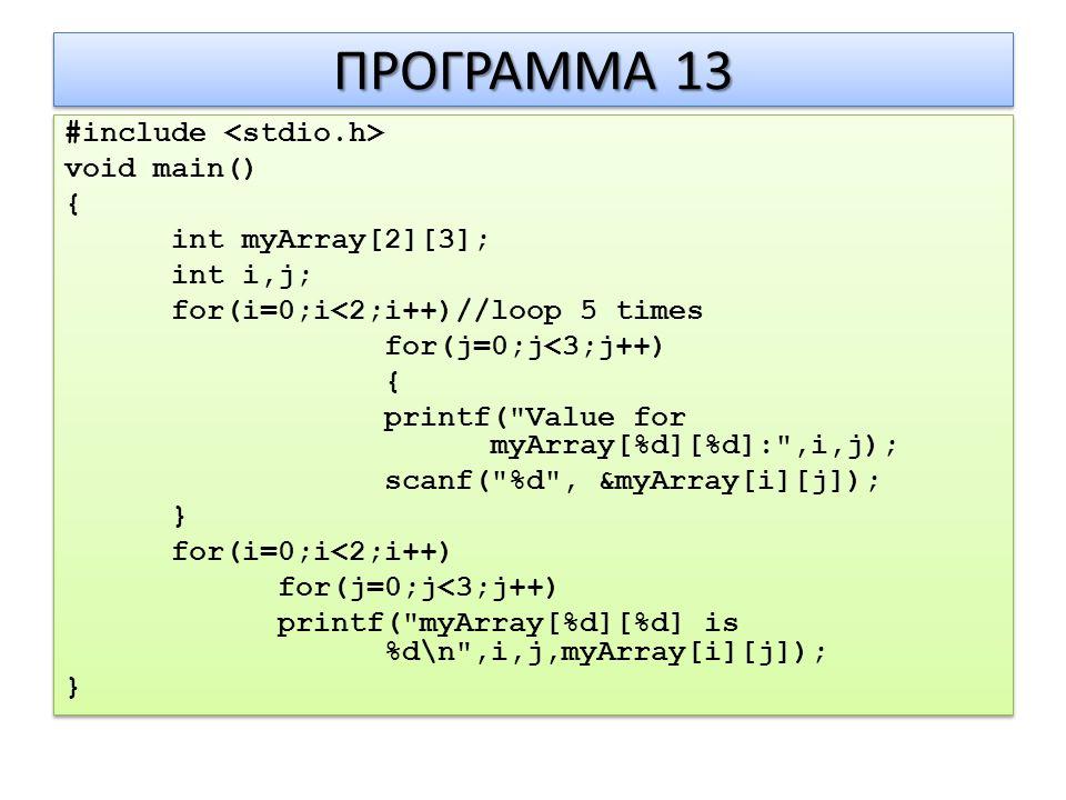 ΠΡΟΓΡΑΜΜΑ 13 #include void main() { int myArray[2][3]; int i,j; for(i=0;i<2;i++)//loop 5 times for(j=0;j<3;j++) { printf( Value for myArray[%d][%d]: ,i,j); scanf( %d , &myArray[i][j]); } for(i=0;i<2;i++) for(j=0;j<3;j++) printf( myArray[%d][%d] is %d\n ,i,j,myArray[i][j]); } #include void main() { int myArray[2][3]; int i,j; for(i=0;i<2;i++)//loop 5 times for(j=0;j<3;j++) { printf( Value for myArray[%d][%d]: ,i,j); scanf( %d , &myArray[i][j]); } for(i=0;i<2;i++) for(j=0;j<3;j++) printf( myArray[%d][%d] is %d\n ,i,j,myArray[i][j]); }