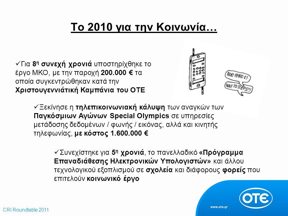 Το 2010 για την Κοινωνία… Για 8 η συνεχή χρονιά υποστηρίχθηκε το έργο ΜΚΟ, με την παροχή 200.000 € τα οποία συγκεντρώθηκαν κατά την Χριστουγεννιάτική