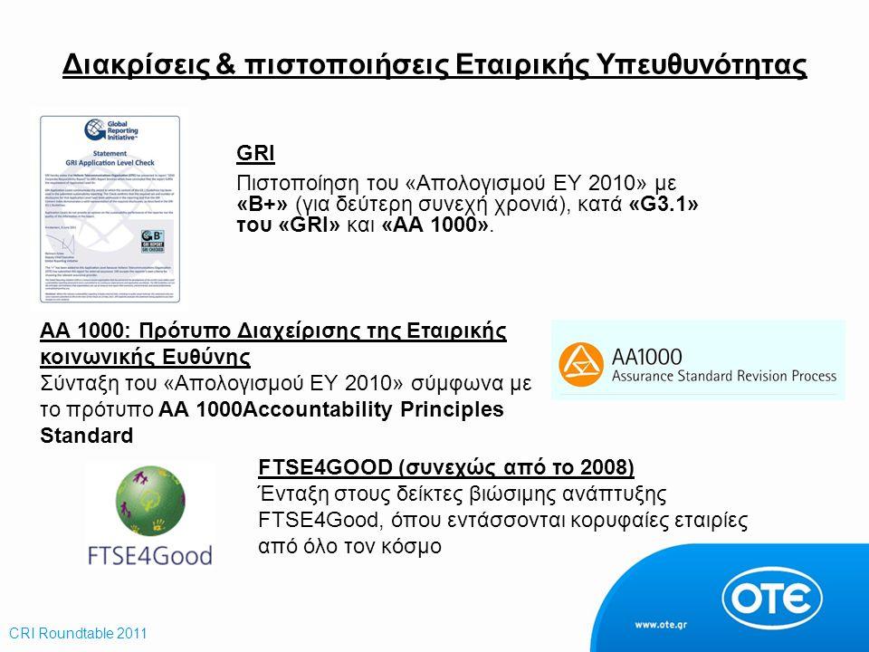 Διακρίσεις & πιστοποιήσεις Εταιρικής Υπευθυνότητας GRΙ Πιστοποίηση του «Απολογισμού ΕΥ 2010» με «Β+» (για δεύτερη συνεχή χρονιά), κατά «G3.1» του «GRI