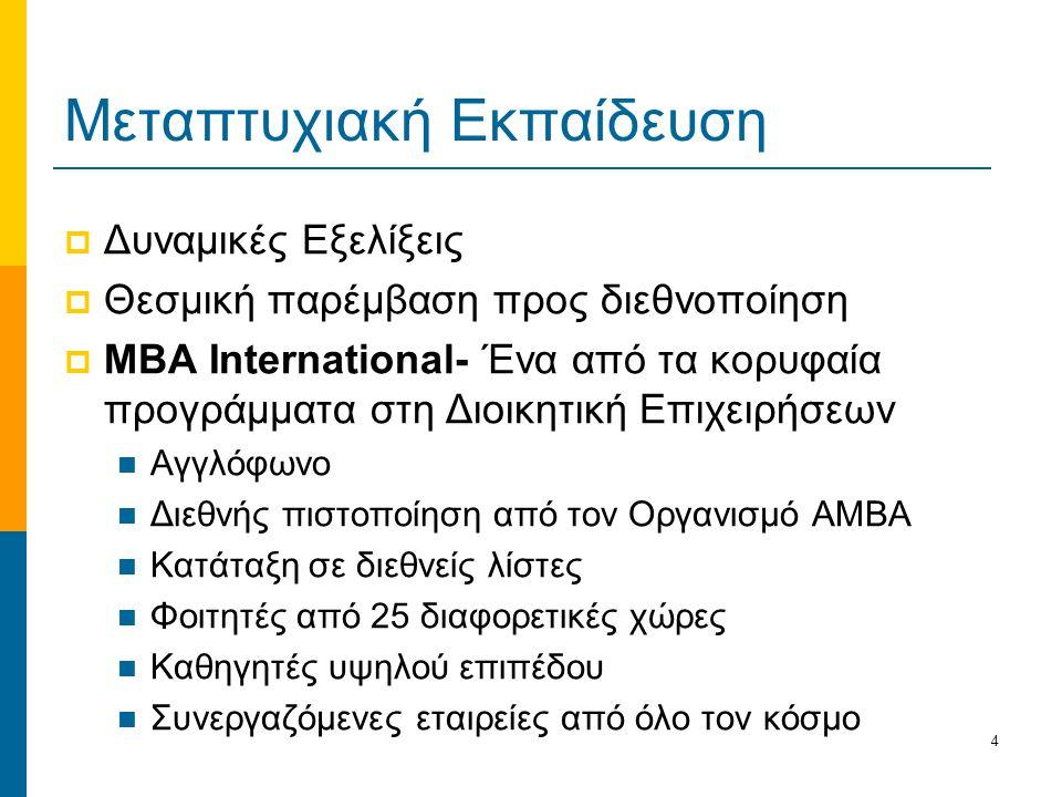 4 Μεταπτυχιακή Εκπαίδευση  Δυναμικές Εξελίξεις  Θεσμική παρέμβαση προς διεθνοποίηση  ΜΒΑ International- Ένα από τα κορυφαία προγράμματα στη Διοικητική Επιχειρήσεων Αγγλόφωνο Διεθνής πιστοποίηση από τον Οργανισμό ΑΜΒΑ Κατάταξη σε διεθνείς λίστες Φοιτητές από 25 διαφορετικές χώρες Καθηγητές υψηλού επιπέδου Συνεργαζόμενες εταιρείες από όλο τον κόσμο