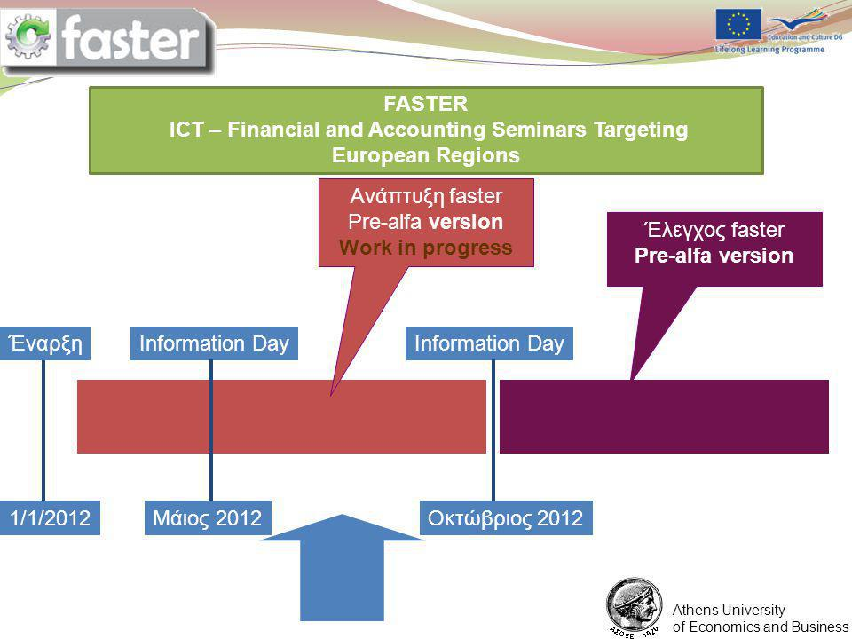 1/6/2012 FASTER LOGO FASTER ICT – Financial and Accounting Seminars Targeting European Regions You are expected to prepare a ppt presentation for each