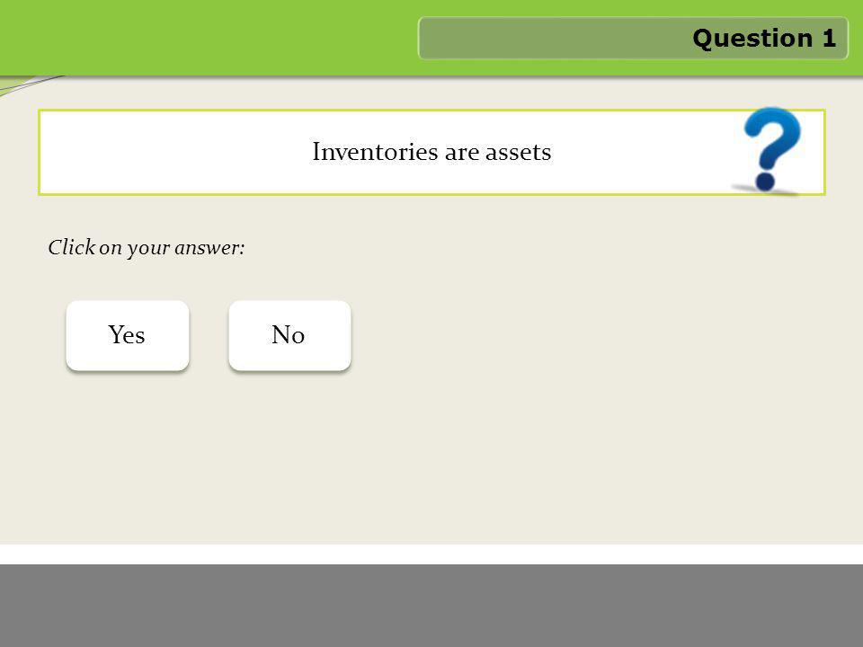 1/6/2012 FASTER LOGO Inventories are assets Question 1 Yes No Click on your answer: