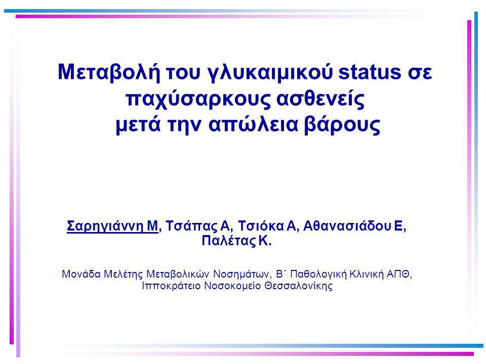 Μεταβολή του γλυκαιμικού status σε παχύσαρκους ασθενείς μετά την απώλεια βάρους Σαρηγιάννη Μ, Τσάπας Α, Τσιόκα Α, Αθανασιάδου Ε, Παλέτας Κ. Μονάδα Μελ