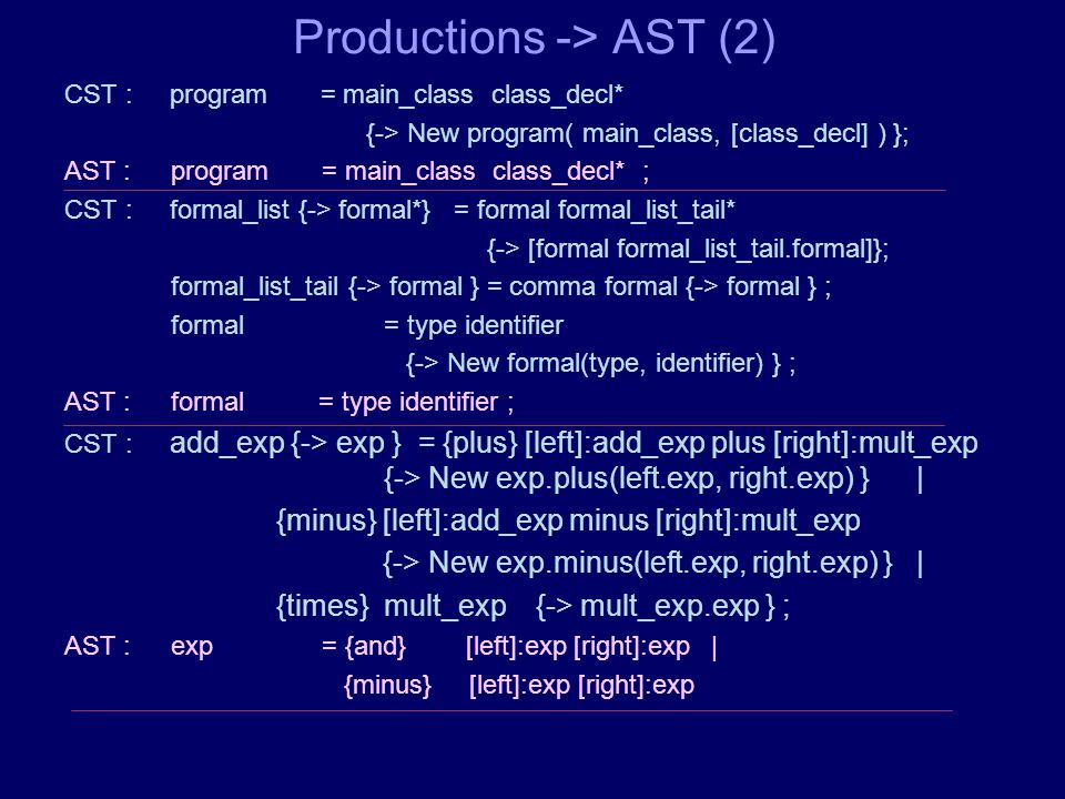 Productions -> AST (2) CST : program = main_class class_decl* {-> New program( main_class, [class_decl] ) }; AST :program = main_class class_decl* ; CST : formal_list {-> formal*} = formal formal_list_tail* {-> [formal formal_list_tail.formal]}; formal_list_tail {-> formal } = comma formal {-> formal } ; formal = type identifier {-> New formal(type, identifier) } ; AST : formal = type identifier ; CST : add_exp {-> exp } = {plus} [left]:add_exp plus [right]:mult_exp {-> New exp.plus(left.exp, right.exp) }| {minus} [left]:add_exp minus [right]:mult_exp {-> New exp.minus(left.exp, right.exp) }| {times} mult_exp {-> mult_exp.exp } ; AST :exp = {and} [left]:exp [right]:exp | {minus} [left]:exp [right]:exp