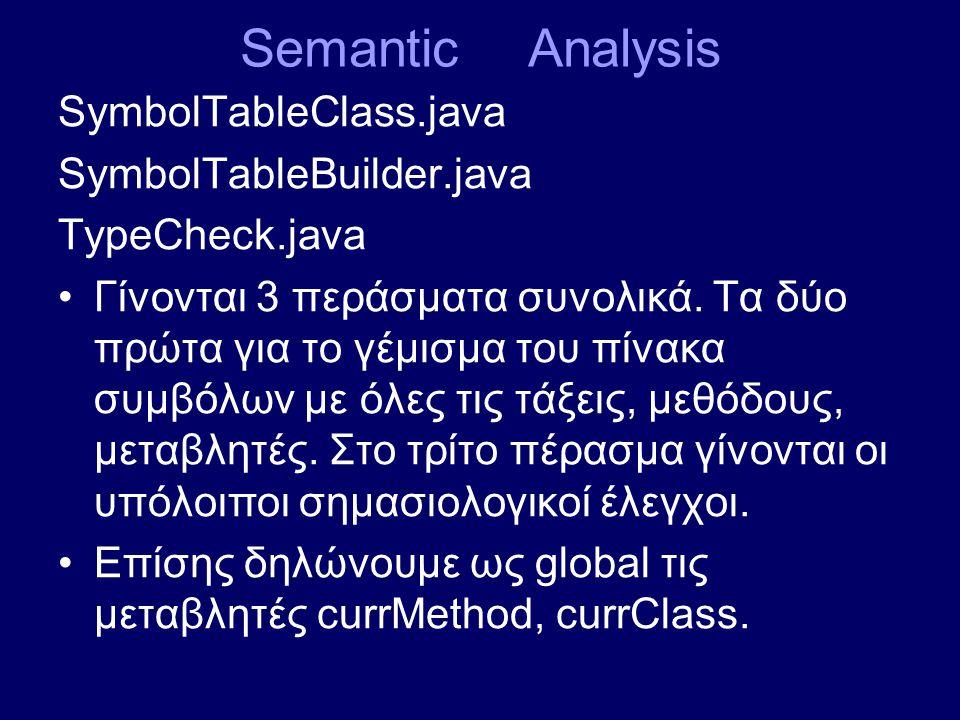 Semantic Analysis SymbolTableClass.java SymbolTableBuilder.java TypeCheck.java Γίνονται 3 περάσματα συνολικά.