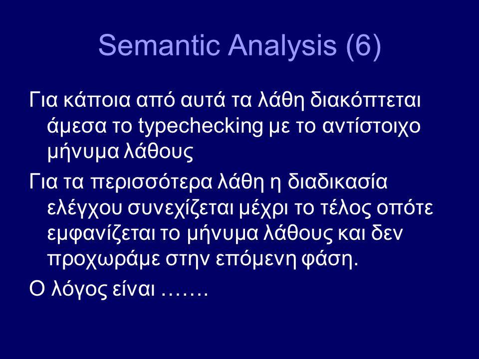Semantic Analysis (6) Για κάποια από αυτά τα λάθη διακόπτεται άμεσα το typechecking με το αντίστοιχο μήνυμα λάθους Για τα περισσότερα λάθη η διαδικασία ελέγχου συνεχίζεται μέχρι το τέλος οπότε εμφανίζεται το μήνυμα λάθους και δεν προχωράμε στην επόμενη φάση.