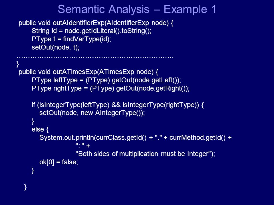 Semantic Analysis – Εxample 1 public void outAIdentifierExp(AIdentifierExp node) { String id = node.getIdLiteral().toString(); PType t = findVarType(id); setOut(node, t); …………………………………………………………… } public void outATimesExp(ATimesExp node) { PType leftType = (PType) getOut(node.getLeft()); PType rightType = (PType) getOut(node.getRight()); if (isIntegerType(leftType) && isIntegerType(rightType)) { setOut(node, new AIntegerType()); } else { System.out.println(currClass.getId() + . + currMethod.getId() + : + Both sides of multiplication must be Integer ); ok[0] = false; } }