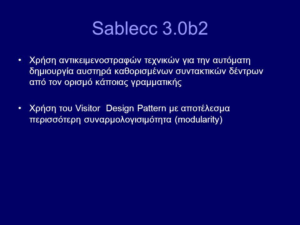 Sablecc 3.0b2 Χρήση αντικειμενοστραφών τεχνικών για την αυτόματη δημιουργία αυστηρά καθορισμένων συντακτικών δέντρων από τον ορισμό κάποιας γραμματική