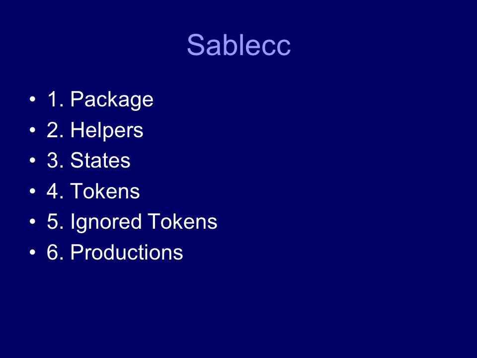 Sablecc 1. Package 2. Helpers 3. States 4. Tokens 5. Ignored Tokens 6. Productions
