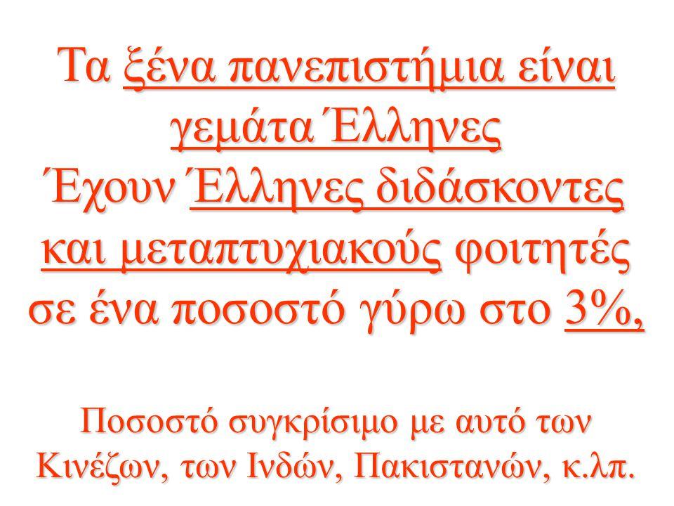 Τα ξένα πανεπιστήμια είναι γεμάτα Έλληνες Έχουν Έλληνες διδάσκοντες και μεταπτυχιακούς φοιτητές σε ένα ποσοστό γύρω στο 3%, Ποσοστό συγκρίσιμο με αυτό