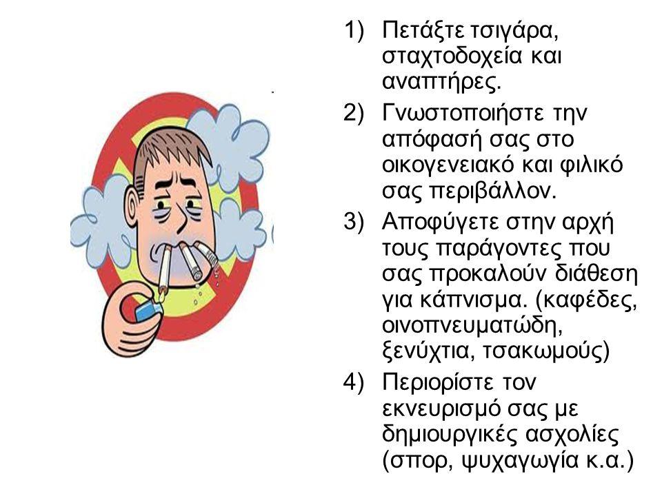 1)Πετάξτε τσιγάρα, σταχτοδοχεία και αναπτήρες. 2)Γνωστοποιήστε την απόφασή σας στο οικογενειακό και φιλικό σας περιβάλλον. 3)Αποφύγετε στην αρχή τους
