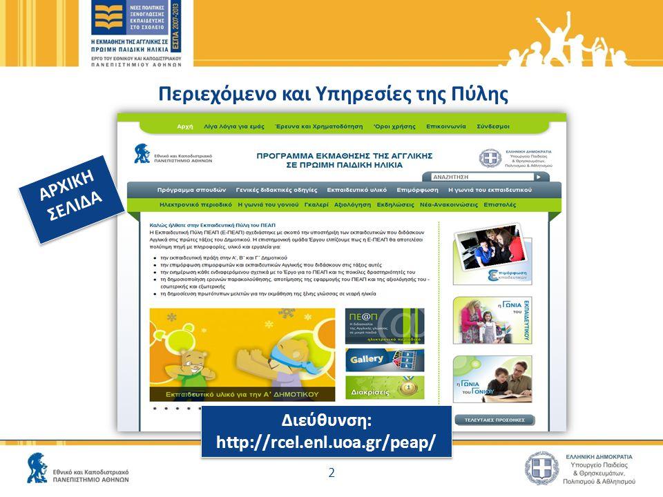 Περιεχόμενο και Υπηρεσίες της Πύλης 2 ΑΡΧΙΚΗ ΣΕΛΙΔΑ ΑΡΧΙΚΗ ΣΕΛΙΔΑ Διεύθυνση: http://rcel.enl.uoa.gr/peap/ Διεύθυνση: http://rcel.enl.uoa.gr/peap/