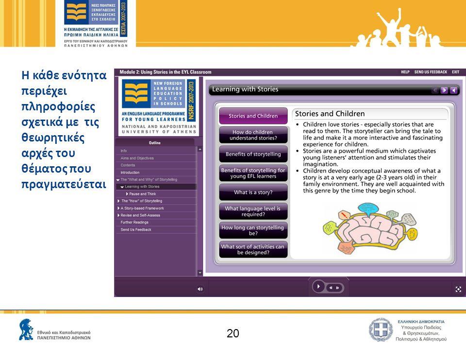 20 Η κάθε ενότητα περιέχει πληροφορίες σχετικά με τις θεωρητικές αρχές του θέματος που πραγματεύεται