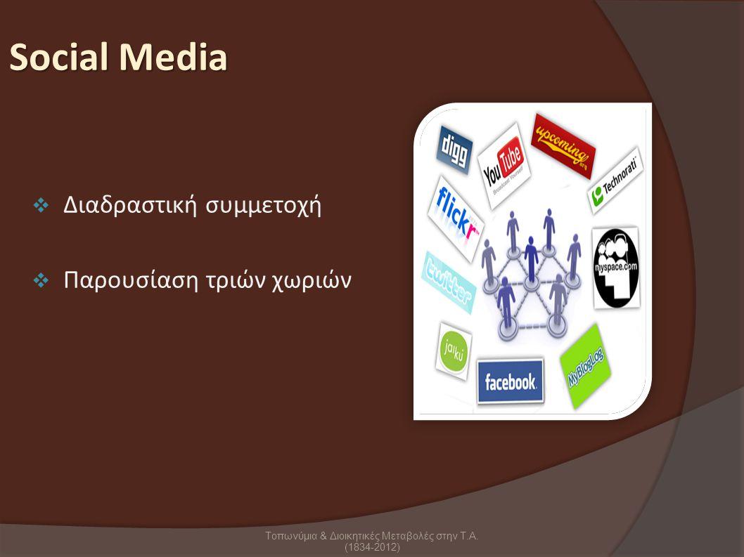 Social Media  Διαδραστική συμμετοχή  Παρουσίαση τριών χωριών Τοπωνύμια & Διοικητικές Μεταβολές στην Τ.Α.