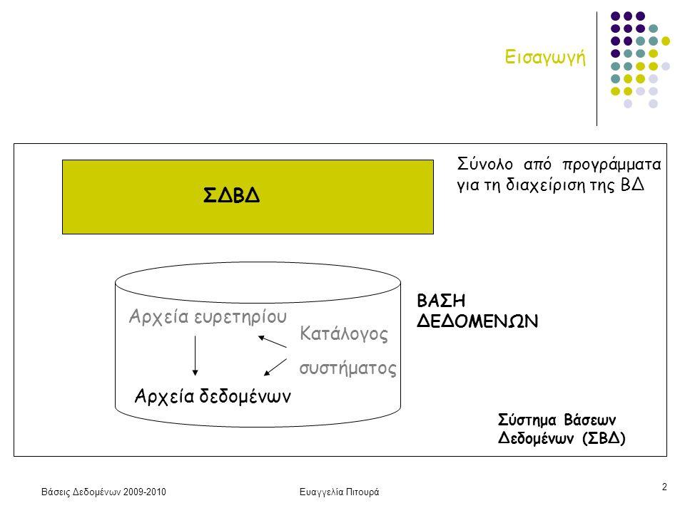 Βάσεις Δεδομένων 2009-2010Ευαγγελία Πιτουρά 2 Εισαγωγή ΒΑΣΗ ΔΕΔΟΜΕΝΩΝ Αρχεία δεδομένων Αρχεία ευρετηρίου Κατάλογος συστήματος ΣΔΒΔ Σύνολο από προγράμματα για τη διαχείριση της ΒΔ Σύστημα Βάσεων Δεδομένων (ΣΒΔ)