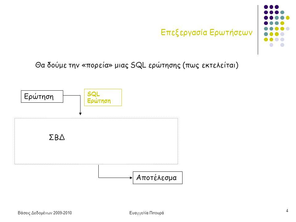 Βάσεις Δεδομένων 2009-2010Ευαγγελία Πιτουρά 4 Επεξεργασία Ερωτήσεων Αποτέλεσμα Ερώτηση SQL Ερώτηση ΣΒΔ Θα δούμε την «πορεία» μιας SQL ερώτησης (πως εκτελείται)