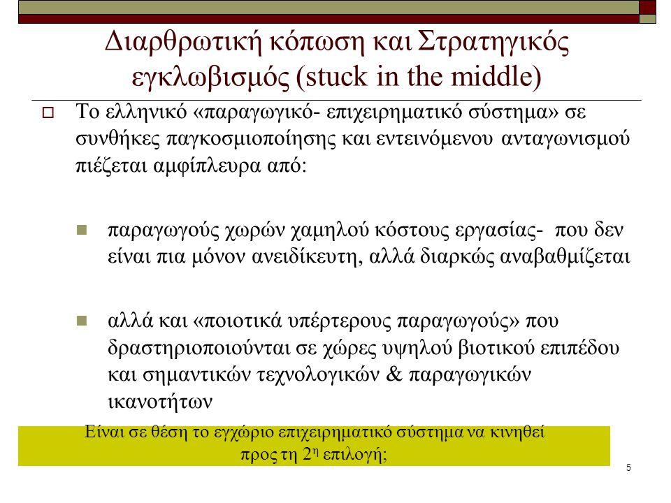 5 Διαρθρωτική κόπωση και Στρατηγικός εγκλωβισμός (stuck in the middle)  Το ελληνικό «παραγωγικό- επιχειρηματικό σύστημα» σε συνθήκες παγκοσμιοποίησης και εντεινόμενου ανταγωνισμού πιέζεται αμφίπλευρα από: παραγωγούς χωρών χαμηλού κόστους εργασίας- που δεν είναι πια μόνον ανειδίκευτη, αλλά διαρκώς αναβαθμίζεται αλλά και «ποιοτικά υπέρτερους παραγωγούς» που δραστηριοποιούνται σε χώρες υψηλού βιοτικού επιπέδου και σημαντικών τεχνολογικών & παραγωγικών ικανοτήτων Είναι σε θέση το εγχώριο επιχειρηματικό σύστημα να κινηθεί προς τη 2 η επιλογή;