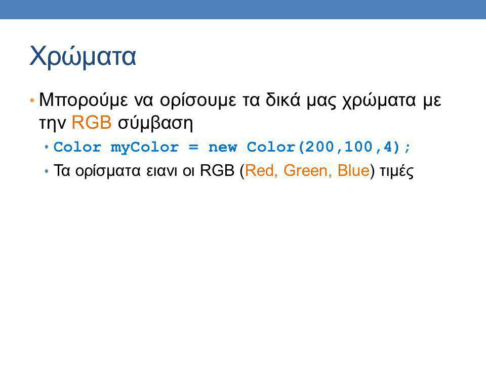 Χρώματα Μπορούμε να ορίσουμε τα δικά μας χρώματα με την RGB σύμβαση Color myColor = new Color(200,100,4); Τα ορίσματα ειανι οι RGB (Red, Green, Blue) τιμές