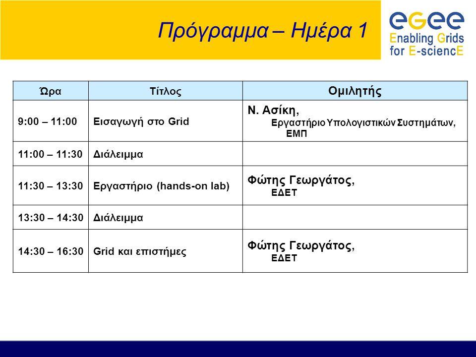 Πρόγραμμα – Ημέρα 1 ΏραΤίτλος Ομιλητής 9:00 – 11:00Εισαγωγή στο Grid Ν. Ασίκη, Εργαστήριο Υπολογιστικών Συστημάτων, ΕΜΠ 11:00 – 11:30Διάλειμμα 11:30 –