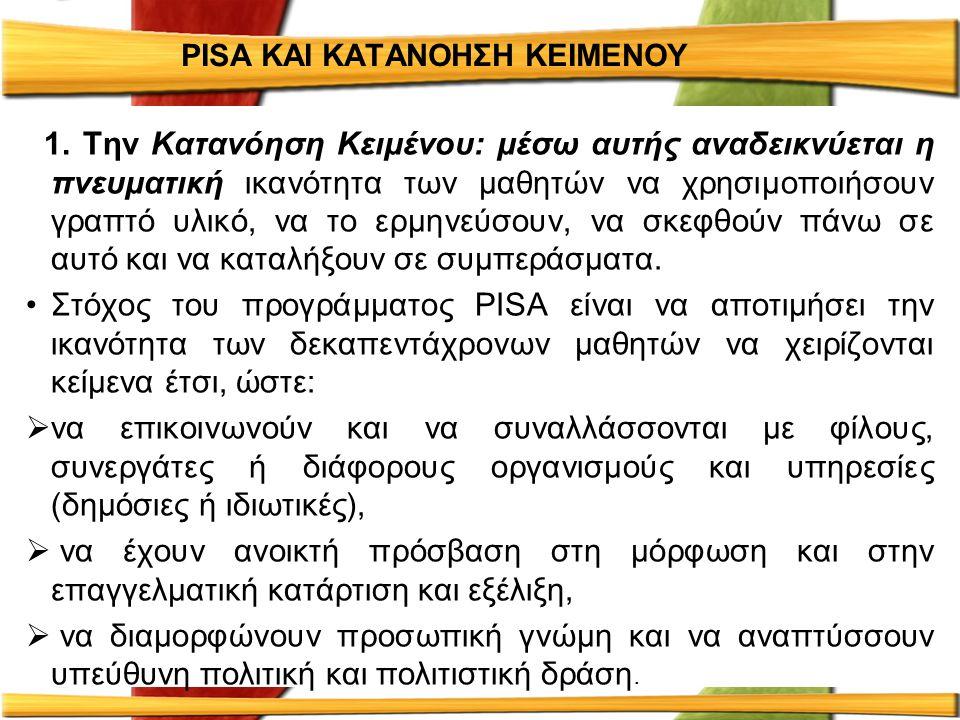 PISA ΚΑΙ ΚΑΤΑΝΟΗΣΗ ΚΕΙΜΕΝΟΥ 1.