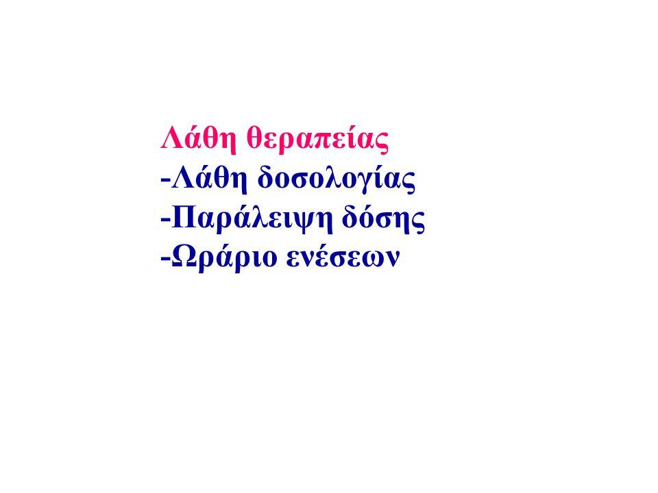 Λάθη θεραπείας -Λάθη δοσολογίας -Παράλειψη δόσης -Ωράριο ενέσεων