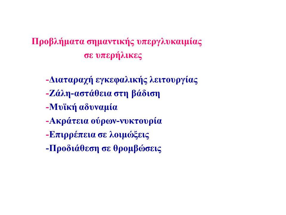-Διαταραχή εγκεφαλικής λειτουργίας -Ζάλη-αστάθεια στη βάδιση -Μυϊκή αδυναμία -Ακράτεια ούρων-νυκτουρία -Επιρρέπεια σε λοιμώξεις -Προδιάθεση σε θρομβώσεις Προβλήματα σημαντικής υπεργλυκαιμίας σε υπερήλικες