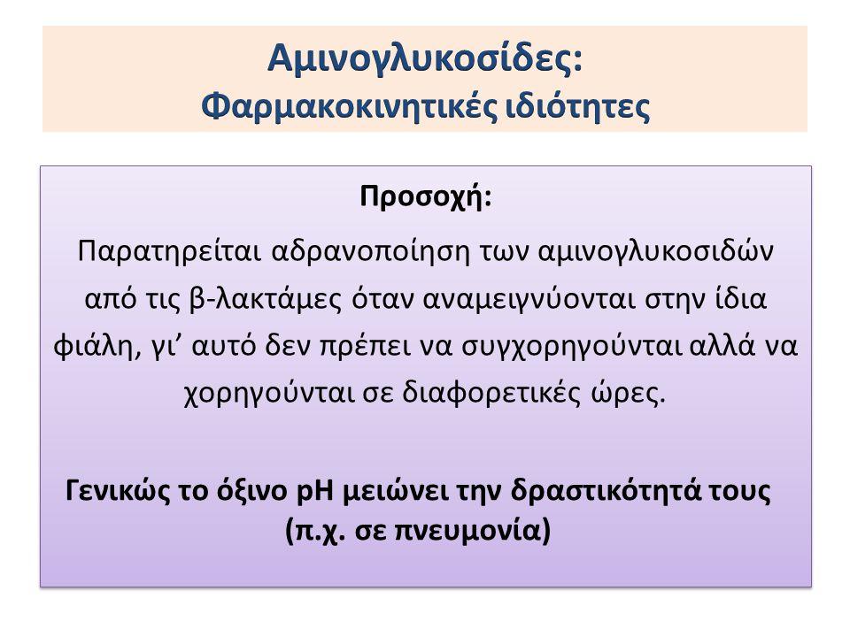 Προσοχή: Παρατηρείται αδρανοποίηση των αμινογλυκοσιδών από τις β-λακτάμες όταν αναμειγνύονται στην ίδια φιάλη, γι' αυτό δεν πρέπει να συγχορηγούνται α