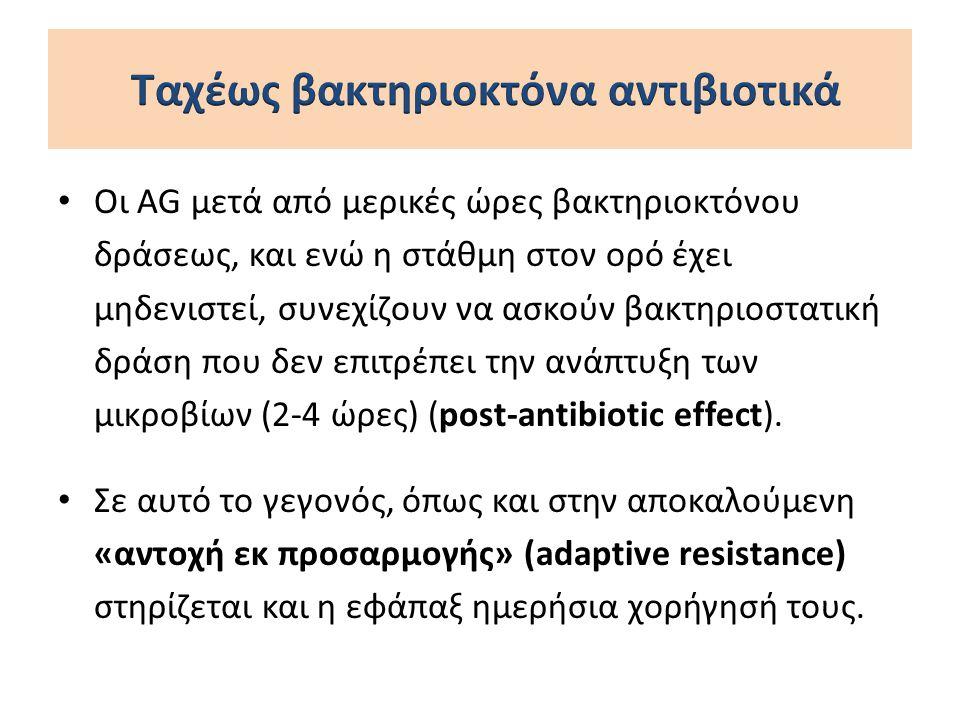Oι AG μετά από μερικές ώρες βακτηριοκτόνου δράσεως, και ενώ η στάθμη στον ορό έχει μηδενιστεί, συνεχίζουν να ασκούν βακτηριοστατική δράση που δεν επιτ