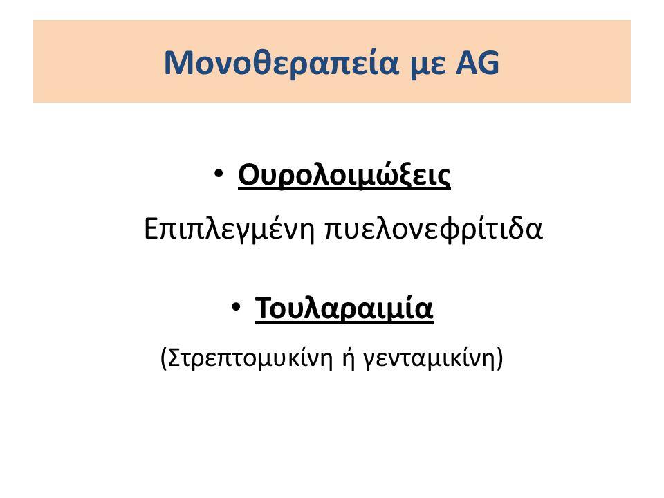 Ουρολοιμώξεις Επιπλεγμένη πυελονεφρίτιδα Τουλαραιμία (Στρεπτομυκίνη ή γενταμικίνη) Μονοθεραπεία με AG