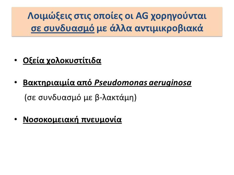 Οξεία χολοκυστίτιδα Βακτηριαιμία από Pseudomonas aeruginosa (σε συνδυασμό με β-λακτάμη) Νοσοκομειακή πνευμονία